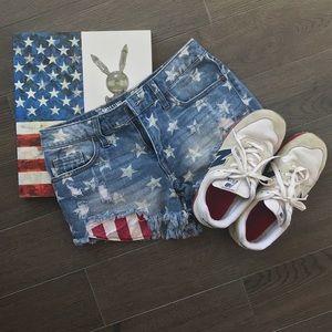 American Flag Frayed Denim Jean Shorts
